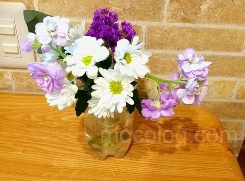 合わせて飾ったブルーミーライフのお花